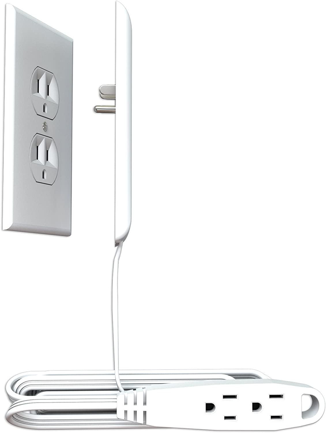 Sleek Socket Ultra-Thin Electrical Outlet Cover | Hides Ugly & Unsafe Plugs & Cords | 9 ft. Oversized Outlet Cover with 3 Outlet Power Strip | UL/CSA Safety Certified