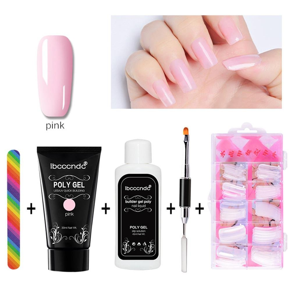 Poly Gel Nail Extension Set,Set of 5 Quick Building Gel + Nail Tips Mold + Poly UV Gel Nail Liquid Slip Solution + Poly Gel Nail Brush + Nail File, Extension Poly Glue Manicure Tool Leegoal