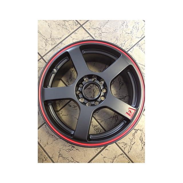Motegi Racing MR116 Matte Black Wheel With Red Racing Stripe (16x7/4x100, 114.3mm, +40mm offset)