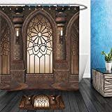 Gothic Decor Collection Illustration of Antique Myst Gate with Oriental Islamic Pattern and Curvings Artistic Design Polyester Fabric Bathroom Bathroom 2 Suits 1 Shower Curtains & 1 Floor Mats