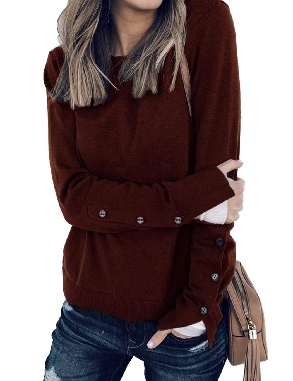 milene88 Women Casual Button Long Sleeve Sweatshirt Solid O-Neck Loose Tops Fashion Hoodies Wine Red