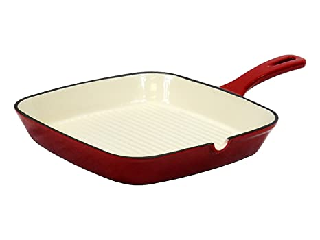 """Burger Ribbed Bottom For Low Fat Restaurant Quality Caramelized Steak Lines on Beef Turkey Salmon Fish Hot Dogs Veggies Field Chef Red 10.75/"""" Square Enameled Cast Iron Grill Pan Chicken"""