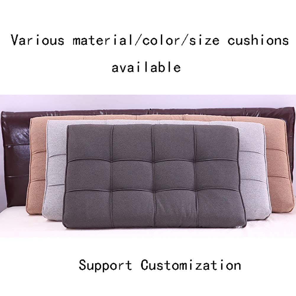 GUOWEI Cushion Upholstered for Bed Without Headboard Backrest Support, 6 Colors, 5 Sizes (Color : Gray, Size : 120x58x10cm)
