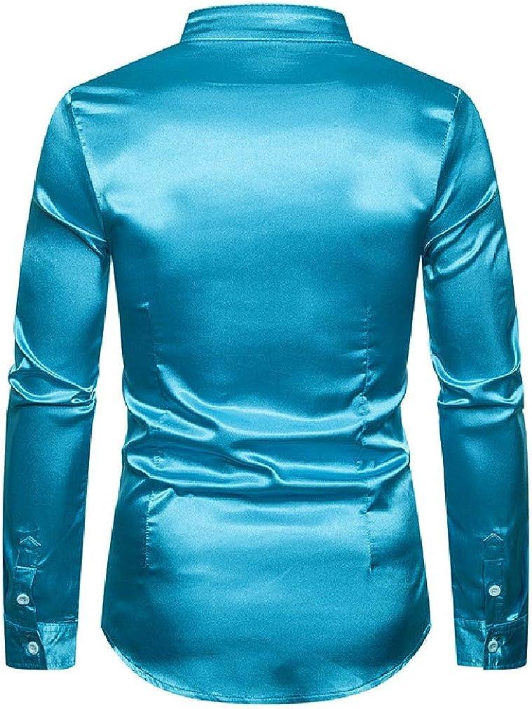 Tralounry Mens Silk Long-Sleeve Stand Collar Shiny Evening Club Dress Shirts