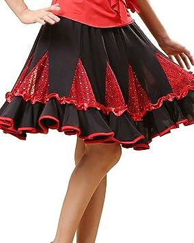 Grouptap Vestido de Falda de Baile Latino Rojo Que se encrespa ...