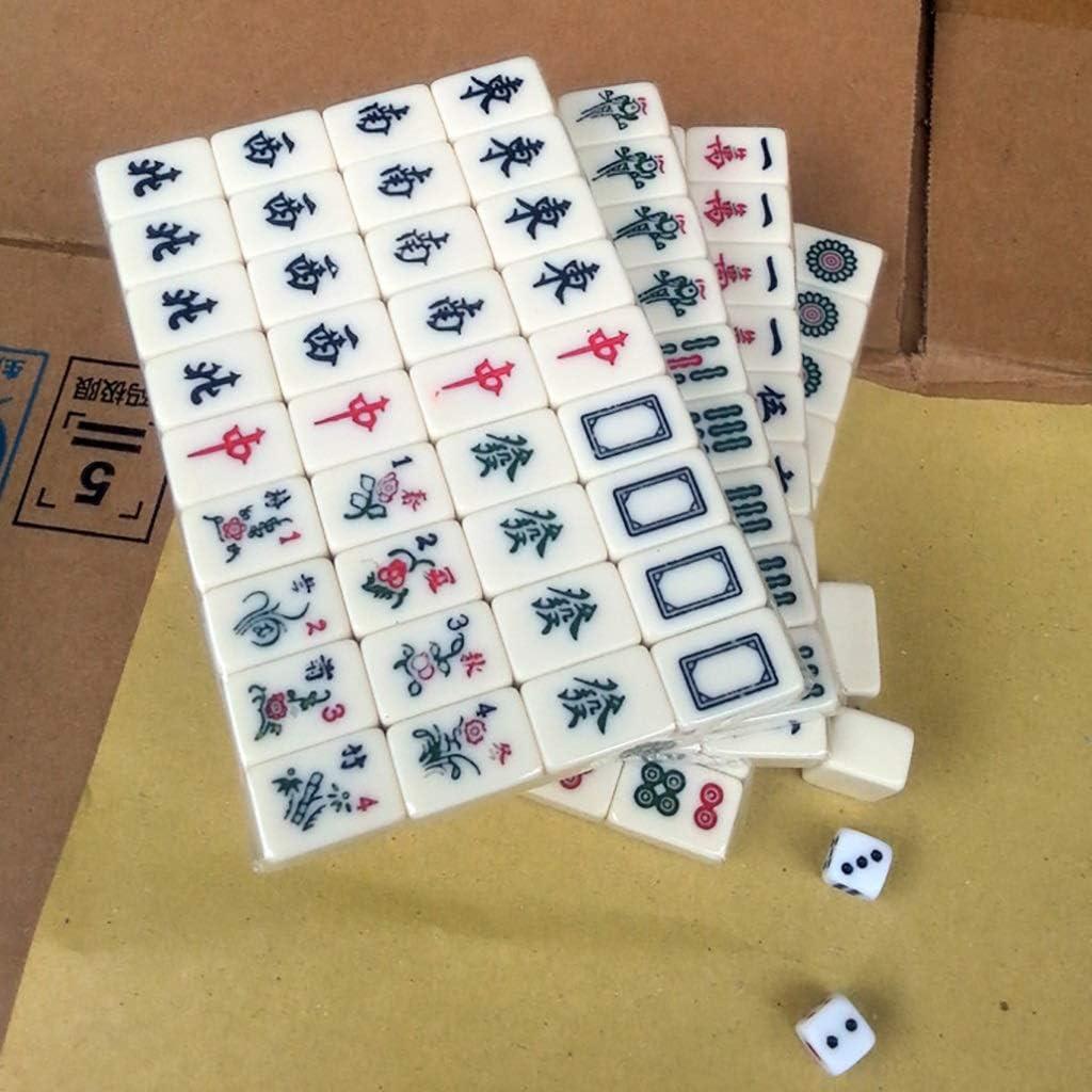 NuoEn Mahjongg con 1 Estuche Juego de Mente Material acrílico Juegos de Mente Tiempo Libre Juego de Viaje Juego 22mm 144 Azulejos Blanco: Amazon.es: Juguetes y juegos