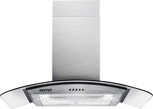Kuppet Pro Style 30 Wall Mount Range Hood Tempered Glass Ducted Exhaust Vent High End Led Lights Aluminum Mesh Filter Push Button 3 Speed