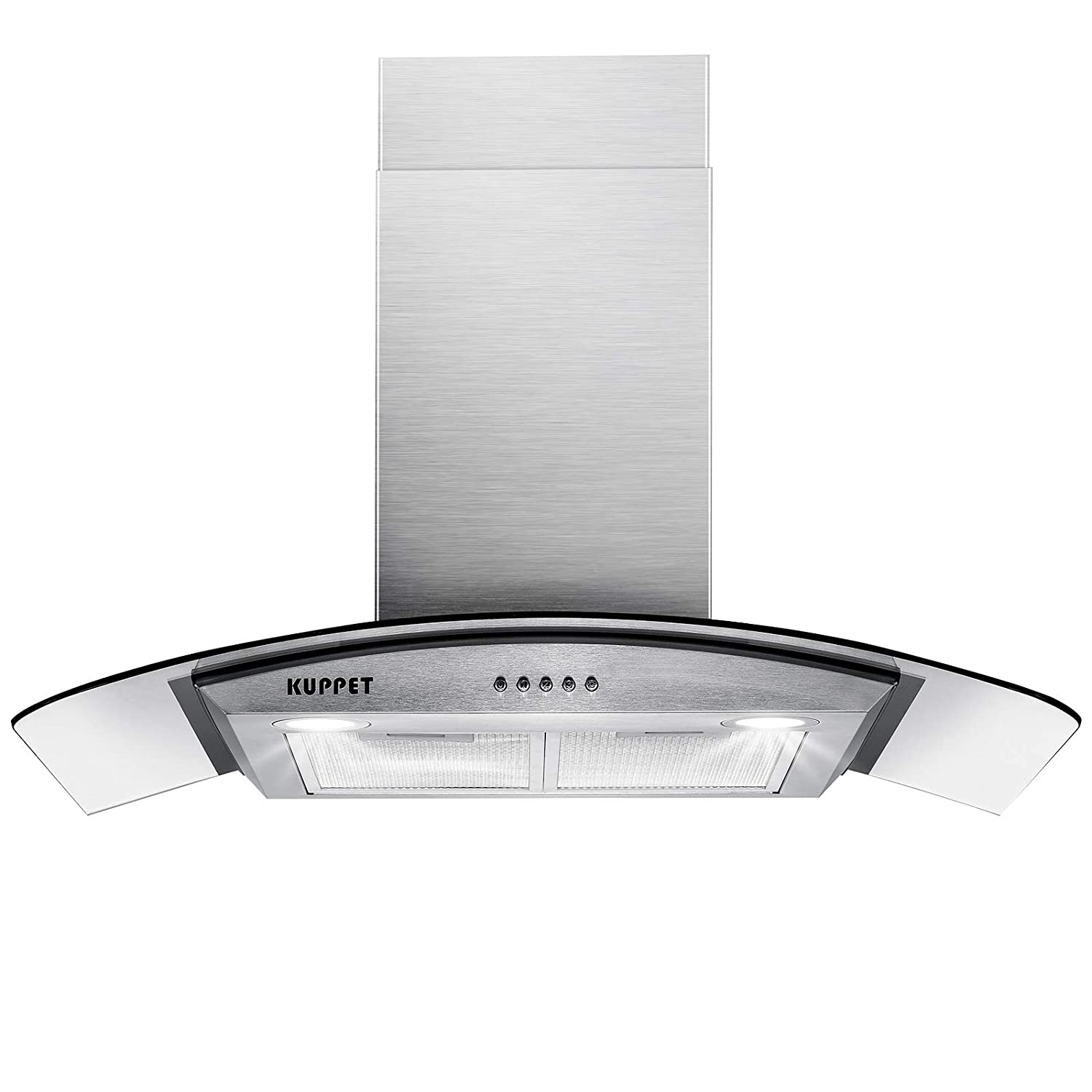 "KUPPET Pro-Style 30"" Wall Mount Range Hood, Tempered Glass Ducted Exhaust Vent, High-End LED Lights, Aluminum Mesh Filter, Push Button 3 speed controls, Stainless Steel"