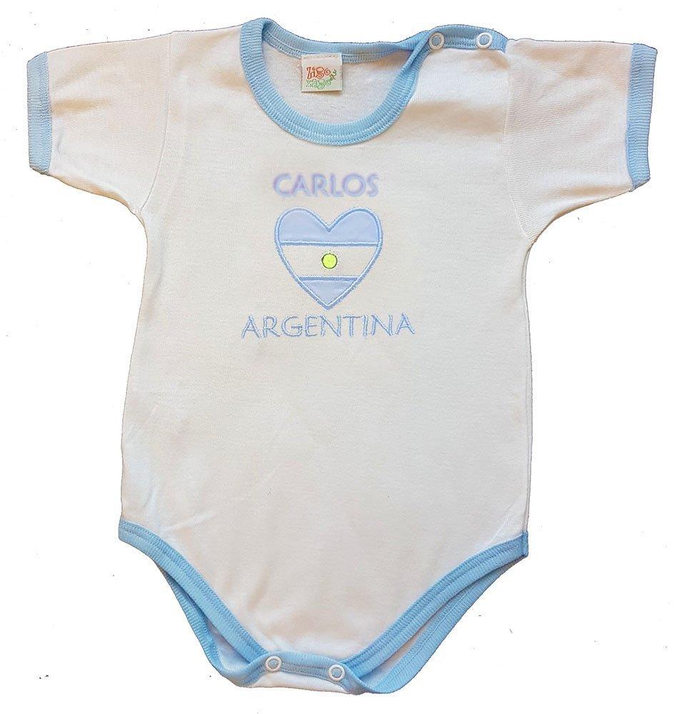 Zigozago - Body Bébé ARGENTINE avec nom de bébé personnalisé - 100% coton