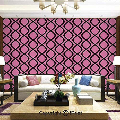 Lionpapa_mural Removable Wall Mural Ideal to Decorate Your Dining Room,Vertical Wavy Lines Tangled Stripes Curves Girlish Feminine Design Cute Modern Decorative,Home Decor - 100x144 inches