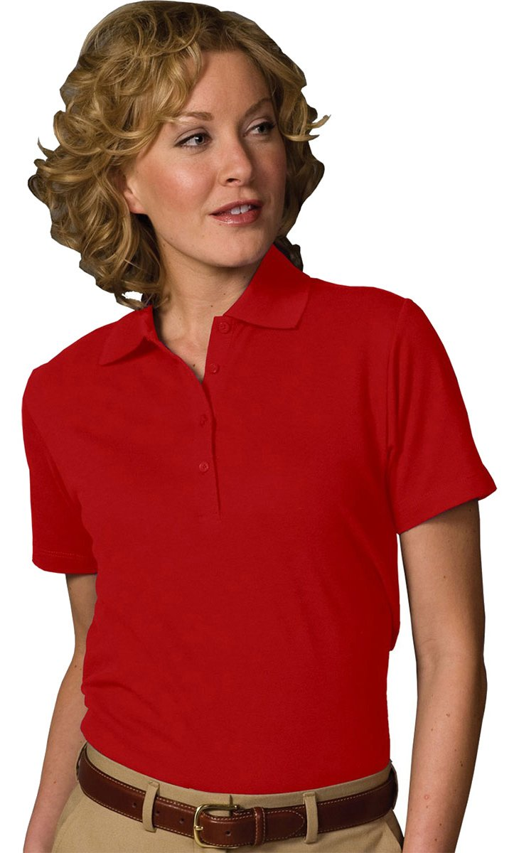 Edwards Garment Women's Soft Touch Blended Pique Polo Shirt_RED_Small