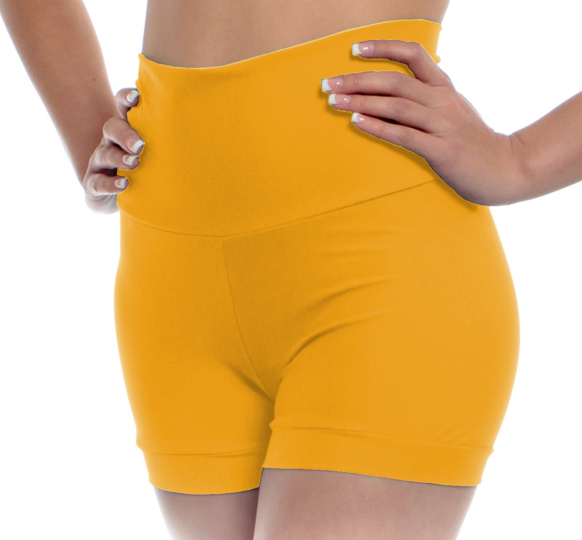 B Dancewear Girls High Waisted Dance Shorts Extra Small Yellow Child and Kid Sizes with Fold Over Band and Stretch by B Dancewear