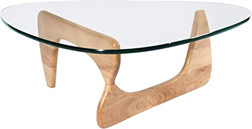 eChamp Coffee Table, Triangle Coffee Table 20mm Thick Transparent Glass End Table for Living Room, Lounge, Patio, Balcony, Study Wood