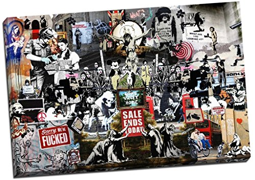 Panther Print Banksy Collage Montage Collection Canvas Print Picture Wall Art Large 30X20 Inches Multicolour