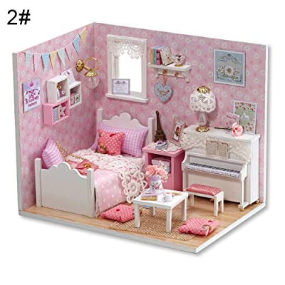 schicj133mm Dollhouse Miniature with Furniture, DIY Wooden Dollhouse Kit Plus Dust Proof and Music Movement, 1:24 Scale Creative Room Idea: Toys & Games