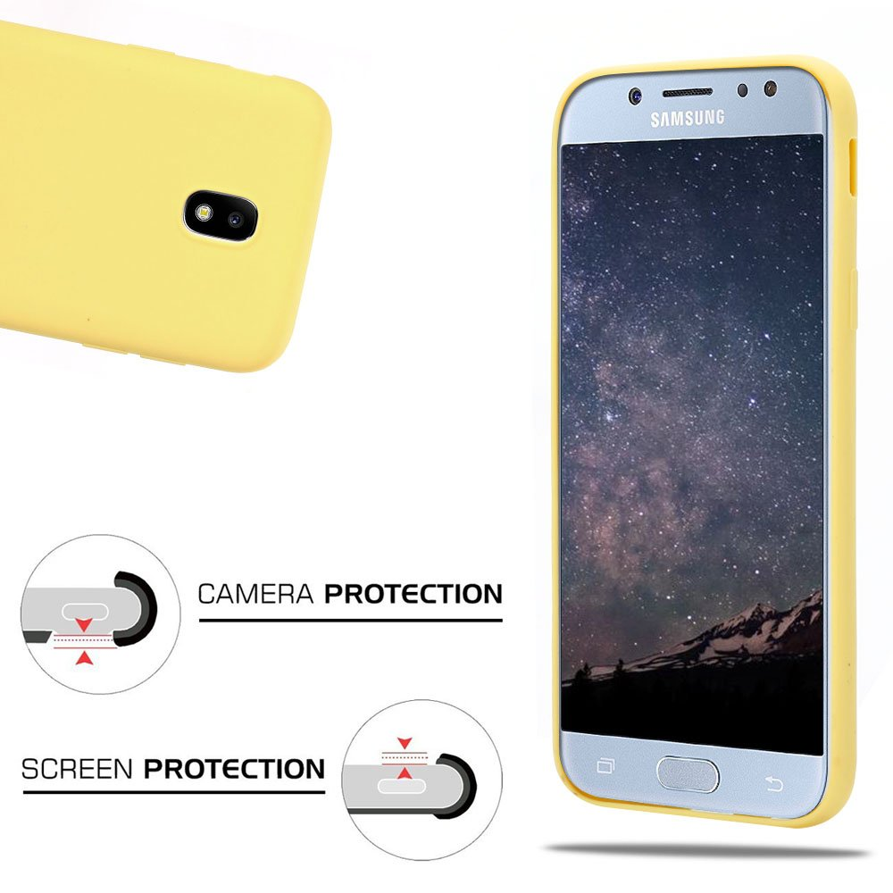 Slim Morbido TPU Silicone Case per Samsung Galaxy J5 2017 Smartphone Opaco Gel Flessibile Sottile Antiurto Protezione Bumper MoEvn 3X Custodia per Samsung J5 2017 Cover Blu + Blu Scuro + Giallo