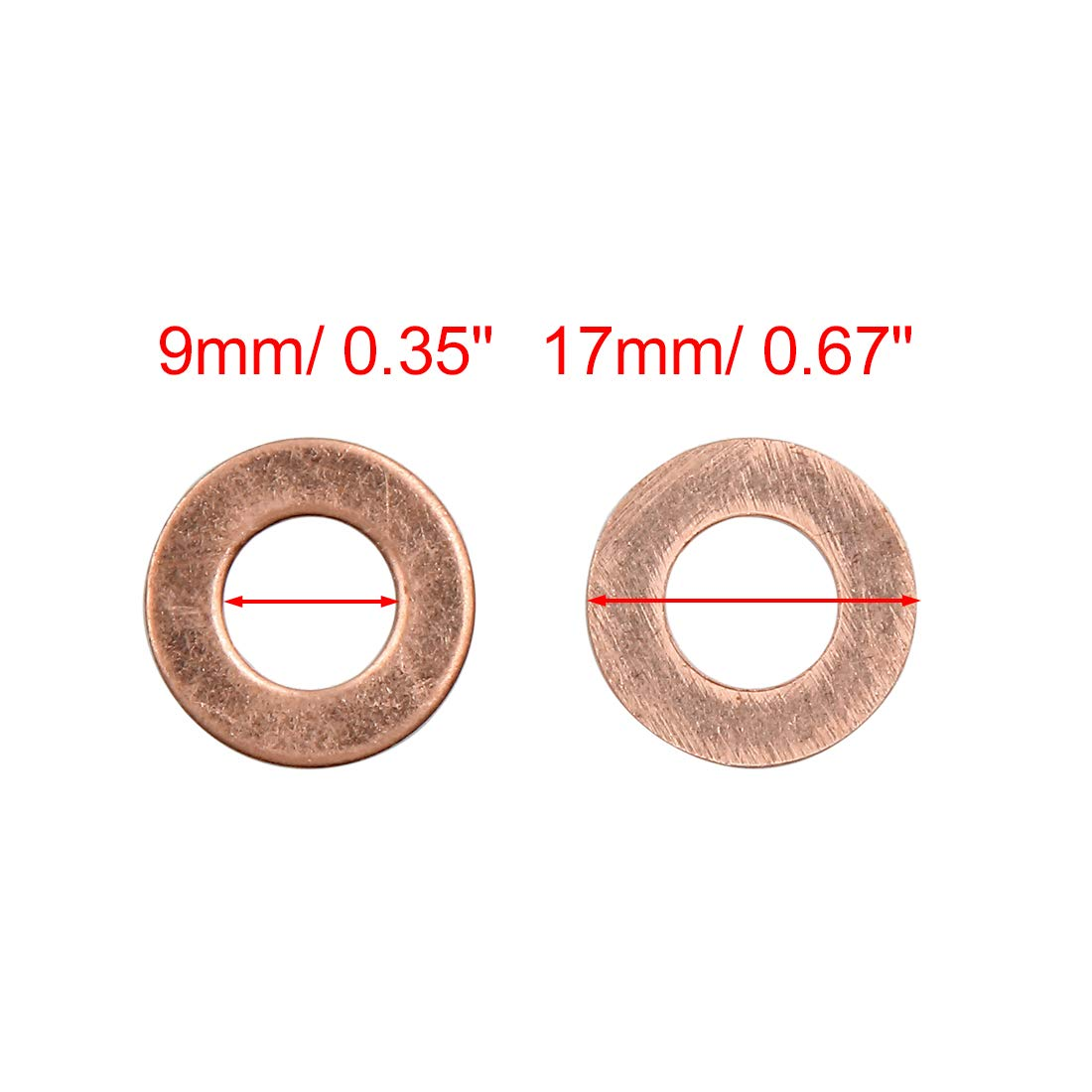 Auto Kupferscheiben Flach Dichtungen Ringe 9mm Innendurchmesser sourcing map 10stk