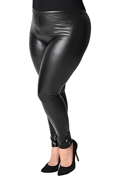 909ce807ed2af Plus Size Winter Warm Fleece Lined Velvet Faux Leather Leggings High Waisted  for Womens Girls (