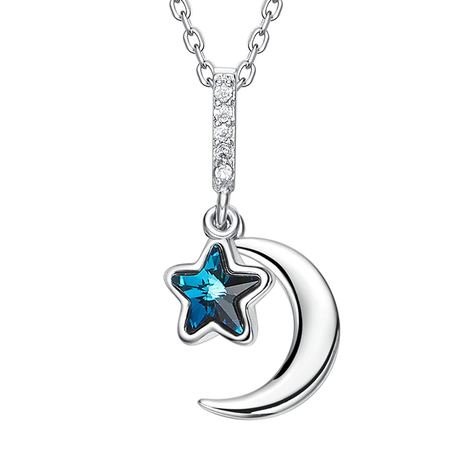 ANAZOZ I Love You to The Moon and Back Crytal Star Crescent Pendant Necklace