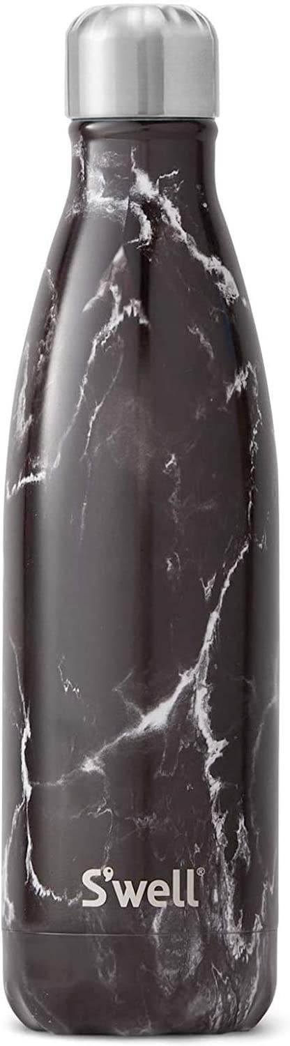 S'well Stainless Steel Water Bottle - 17 Fl Oz - Black Marble - Triple-Layered Vacuum-Insulated Containers Keeps Drinks Cold for 41 Hours and Hot for 18 - with No Condensation - BPA Free Water Bottle
