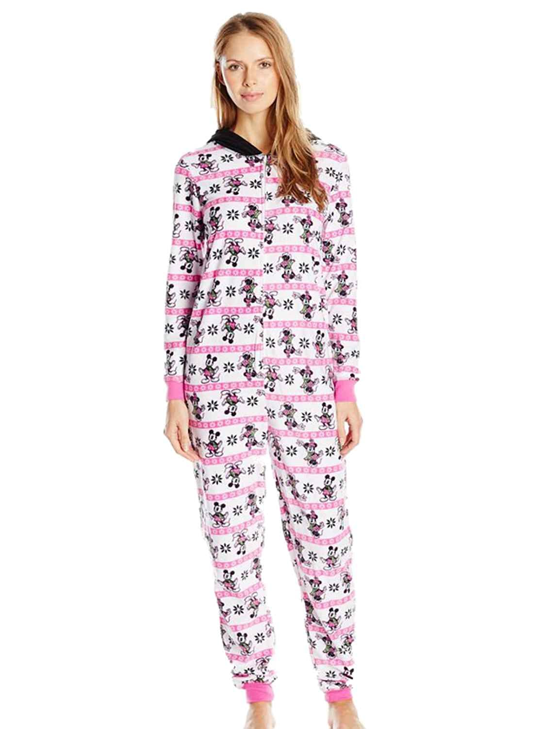 78761ad8e6 Disney Womens Pink Fleece Mickey Minnie Mouse Hooded Union Suit Sleeper  Pajama at Amazon Women s Clothing store