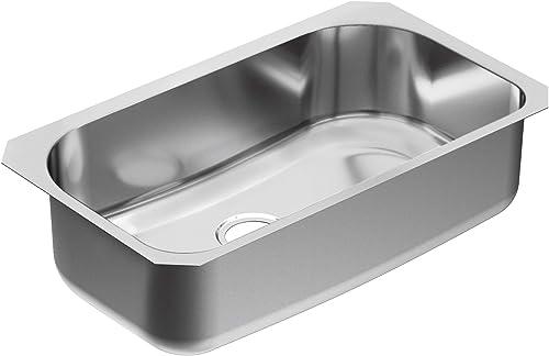 Moen G18165 1800 Series 18 Gauge Single Bowl Undermount Sink, Stainless Steel