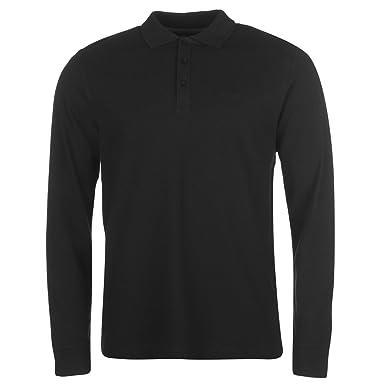 12e34c101 Pierre Cardin Mens Plain Long Sleeve Polo Shirt Top Cotton Regular Fit Fold  Over Black Small