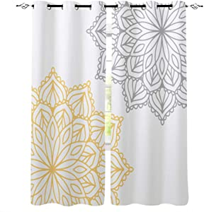 LOVE HOME DAY Window Curtains Treatments 2 Panels Set, Abstract Dahlia Pinnata Flower Privacy Drapes Curtain for Bedroom Living Room Sliding Glass Door Decor Floral Blossoms Gray and Yellow 52×72in×2