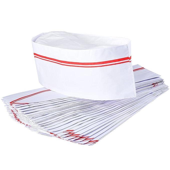 Irich 40 Pezzi Regolabile Monouso Carta Cappello da Cuoco per Ristorante  Cucina BBQ Scuola (Bianco a51042212482