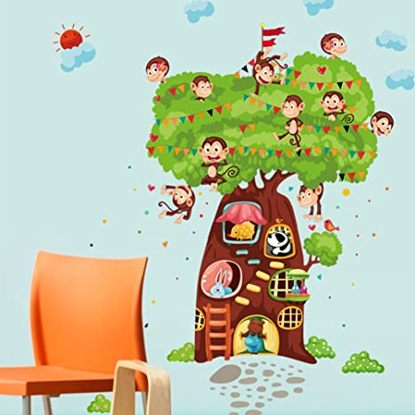 Wallpark Dibujos animados Monos Conejo Encantador Oso rbol Casa