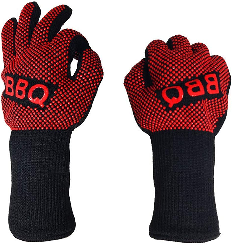 MRULIC Useful Hot BBQ Grilling Cooking Gloves Extreme Heat Resistant oven Welding Strip Gloves Insulation Gloves Family Essential