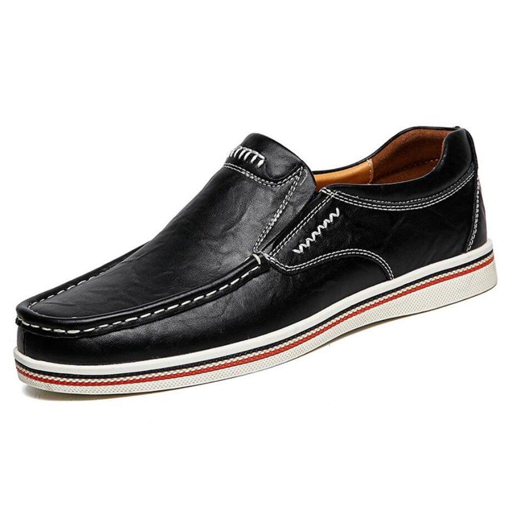 CAI Herrenschuhe Echtes Leder Leder Schuhe Sommer/Herbst/Winter Komfort Loafers  SlipOns Schwarz/Blau/Braun Herren Driving Shoes/Loafers (Farbe : Schwarz  Größe : 40) Schwarz