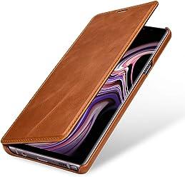 StilGut Book Type Case, Custodia per Samsung Galaxy Note 9 a Libro Booklet in Vera Pelle, Cognac