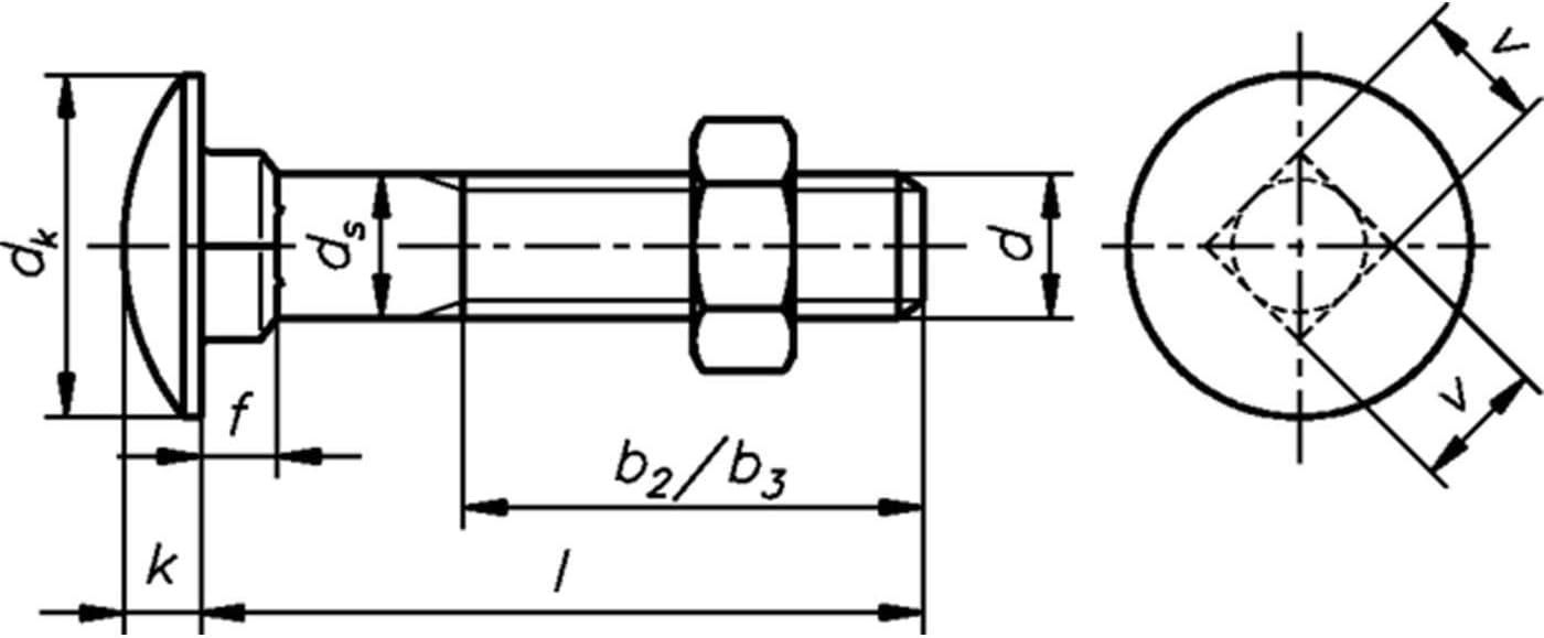 Dresselhaus IV Round-Head Screws with Square Bolt M 10/x 100/mm Galvanised Pack of 100