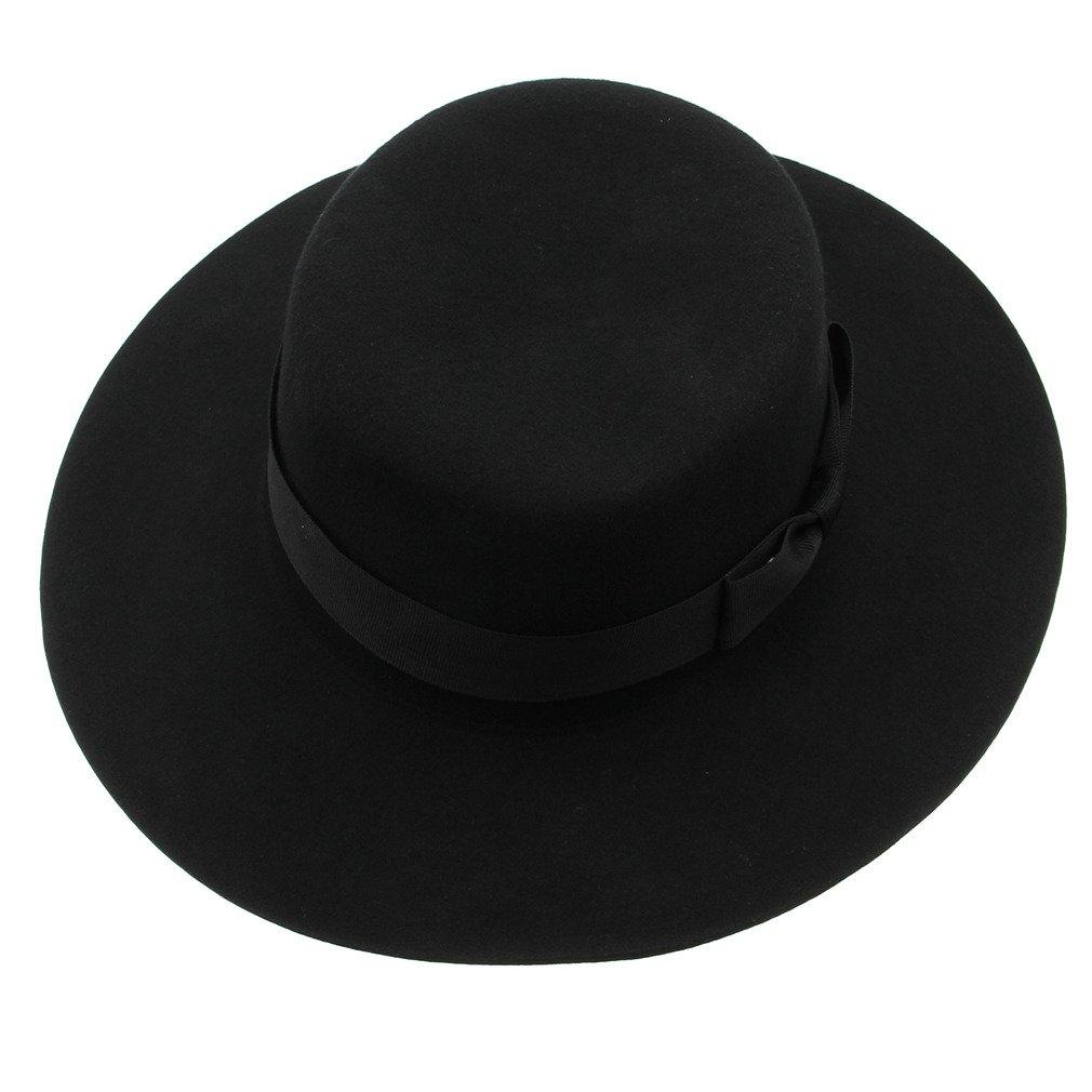 Bigood Vintage Hard Felt Wool Hat Ribbon Bowknot Flat Top Rocker Fedora Cap