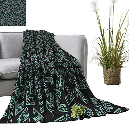 (Faux Fur Throw Blanket Trendy pop Art s s Background Black and Turquoise Batik Wallpaper Wrapping Paper Textile Print Home, Couch, Outdoor, Travel Use 51