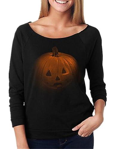 Tayaho Camisetas De Manga Larga Mujer Camisa Moda Halloween Tops Impresa Calabaza Blusa Cuello Redon...