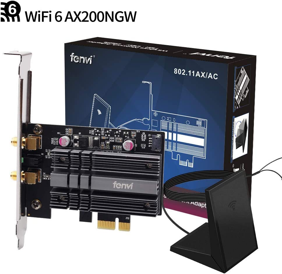 fenvi PCIe WiFi Adapter Card WiFi 6 AX200 PCIe Wi-Fi 6 802.11ax Card PC Internet Network Wireless PCI Card Next-Gen MU-MIMO 2x2 2.4GHz 5GHz BT 5.0 3000Mbps 11AX Miracast vPro AX200NGW OFDMA WiFi nic