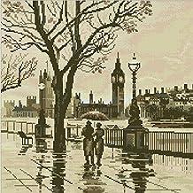 London in the Rain Cross Stitch Kit,egypt Cotton Thread 14ct,43x43cm Cross Stitch Kits