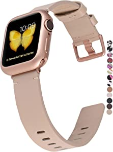 JSGJMY Genuine Leather Band with Case Compatible with Apple Watch 38mm 40mm 42mm 44mm Women Men for iWatch Series 5 4 3 2 1 (Light tan/Rose Gold, 38mm/40mm S/M)
