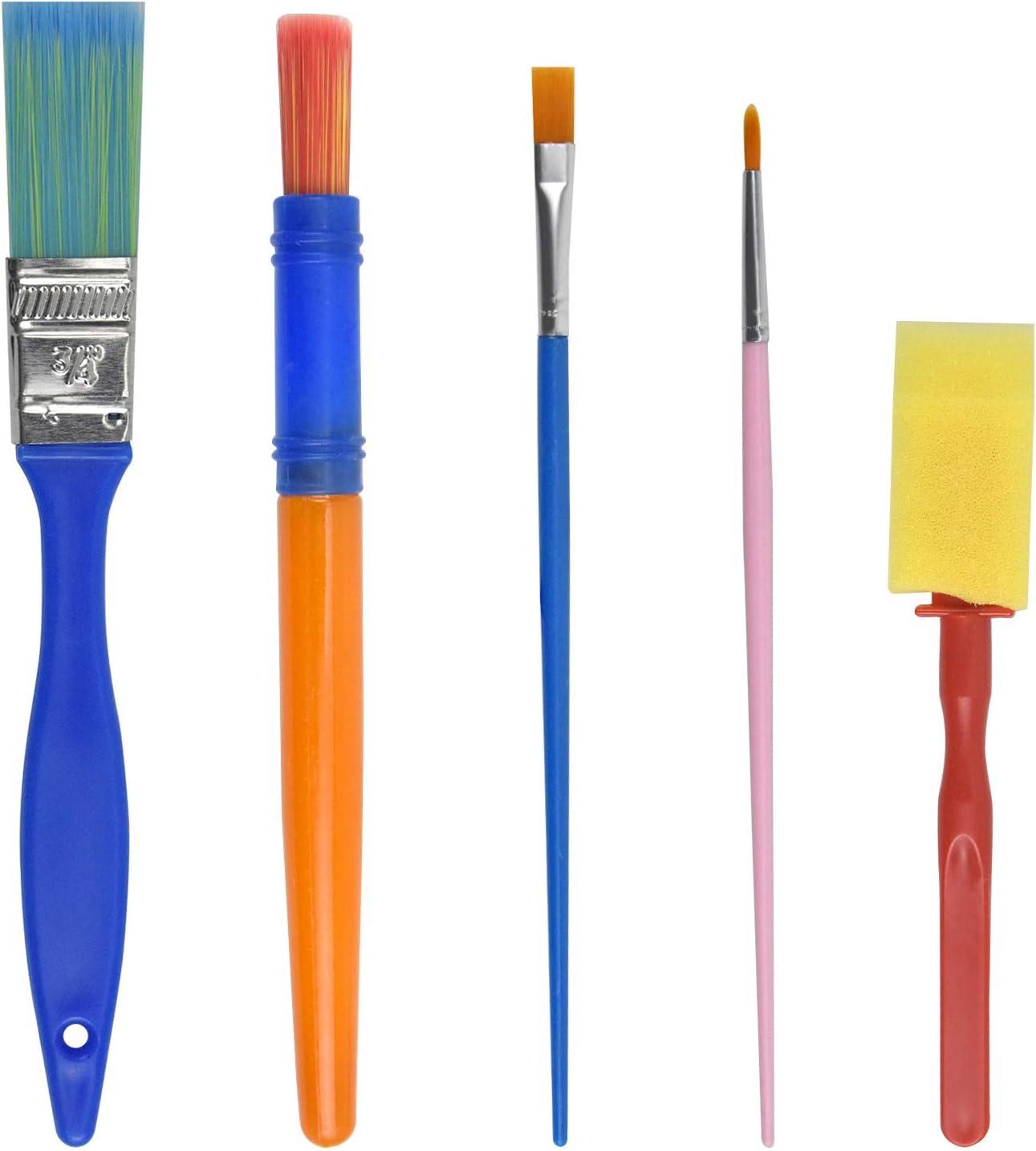 Pinceaux de Peinture /Éponge Brosses de Peinture Enfant Enfants Peinture Kits Pinceaux en Mousse Ensemble Brosse de Peinture pour D/ébutant Peinture AvoDovA 5PCS Peinture Brosse pour Enfants B/éb/é