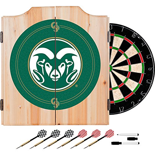 Colorado State University Deluxe Solid Wood Cabinet Complete Dart Set - Officially Licensed! by TMG