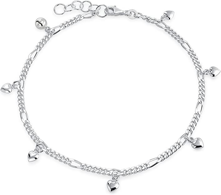 925 Sterling Silver Petite Puffy Hearts Anklet 10 inches no stones