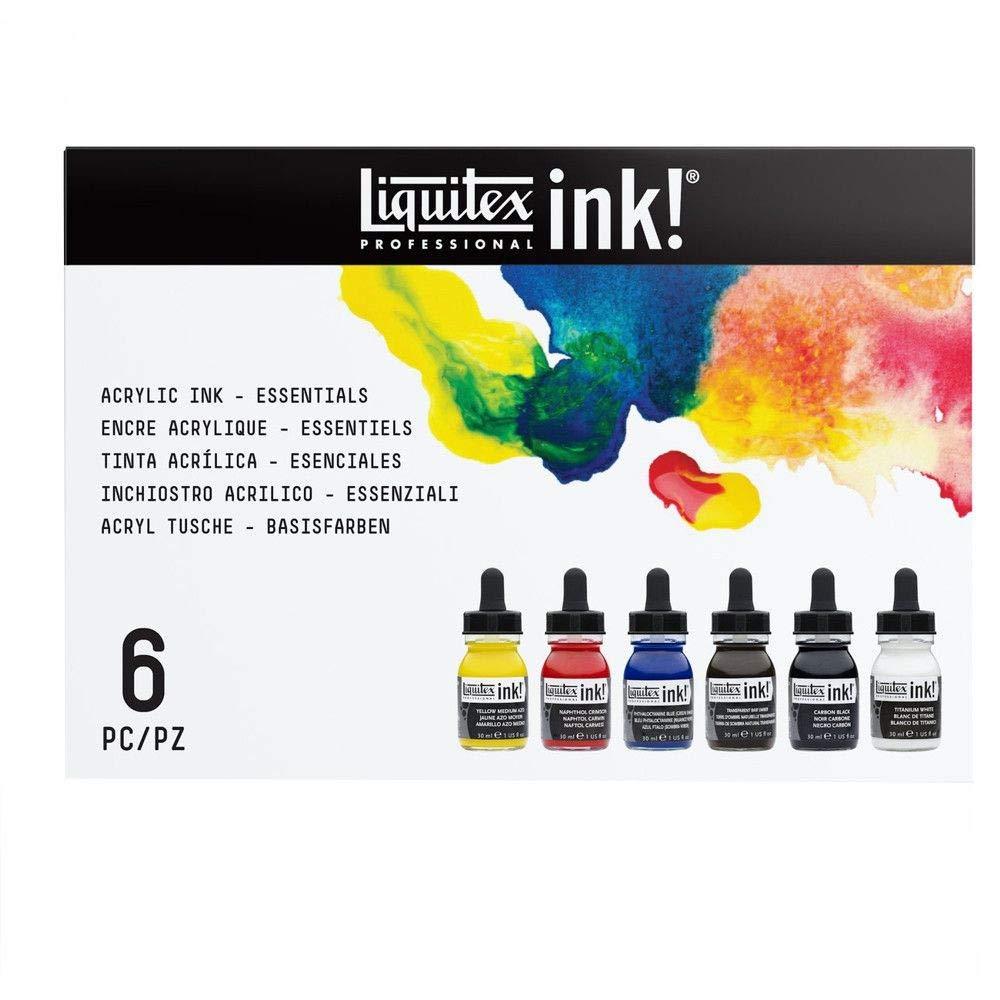Liquitex Professional Acrylic Ink! Essential Set, Multiple Colors, Set of 6 (3699314) by Liquitex