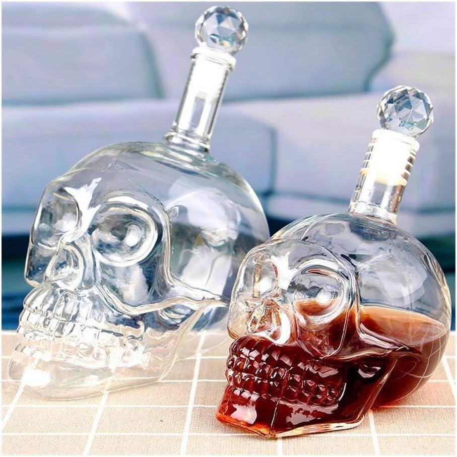 Aislamiento Llegar Botella cabeza del cráneo de cristal de whisky de la vodka vino de la jarra de cerveza de la botella de whisky de cristal licores de cristal Copa de cristal Water Bar Inicio Grande