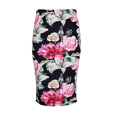 certylu Falda de Mujer, con Estampado de Flores, Cintura Alta ...