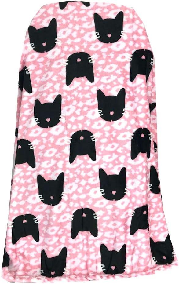Warm & Snuggly Black Cat Print Super Soft Throw Blanket Pink 50x60