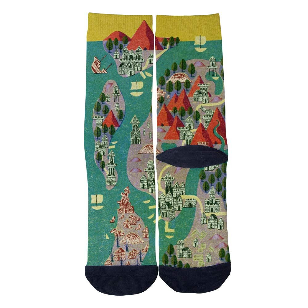 Mens Womens Casual Ancient Castle Ruins Island Map Socks Novelty Custom Socks Hip Hop Cartoon Socks Elite Crew Socks