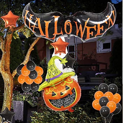 MIZAEINV Halloween Party Decorations Set Happy Halloween Balloon with Black and Orange Bat Star Pumpkin Mylar Latex Foil Balloons Kit Theme party Hallowmas Photo Booth Props 26Pcs Large Type Decorations