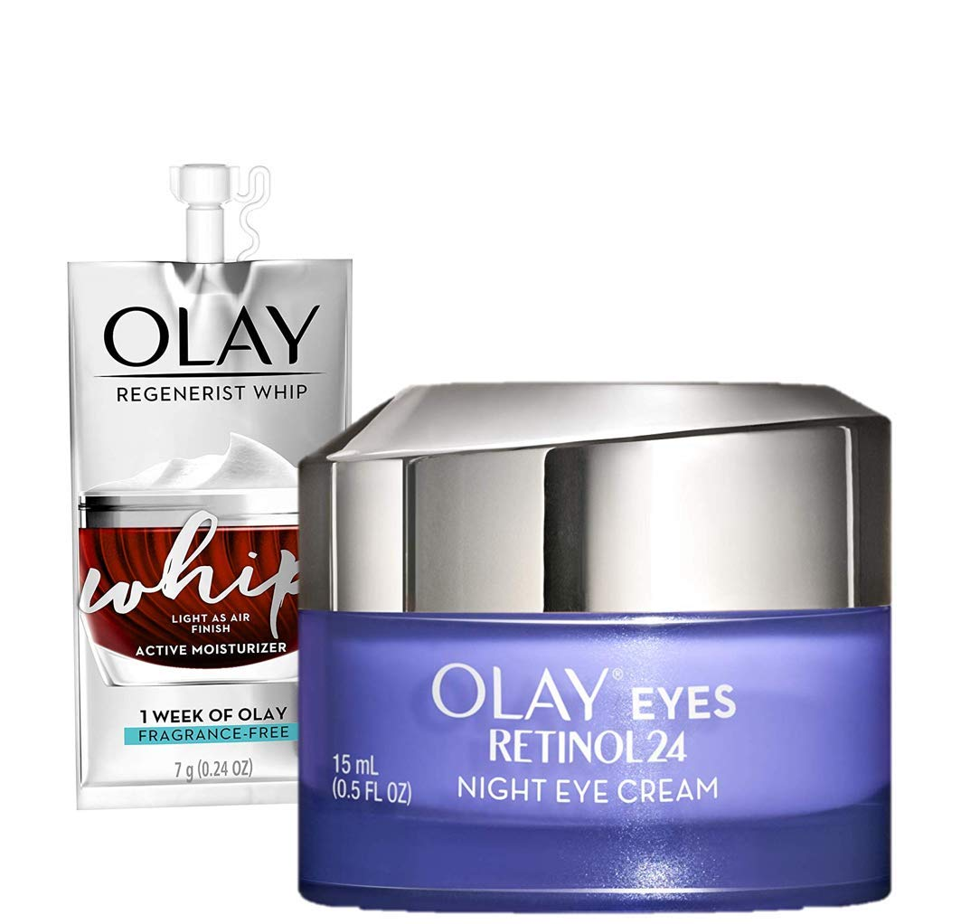Amazon Com Olay Regenerist Retinol Eye Cream Retinol 24 Night Eye Cream 0 5oz Whip Face Moisturizer Travel Trial Size Bundle Beauty